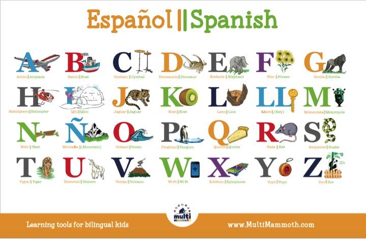 Spanish English Alphabet Placemat Multimammoth